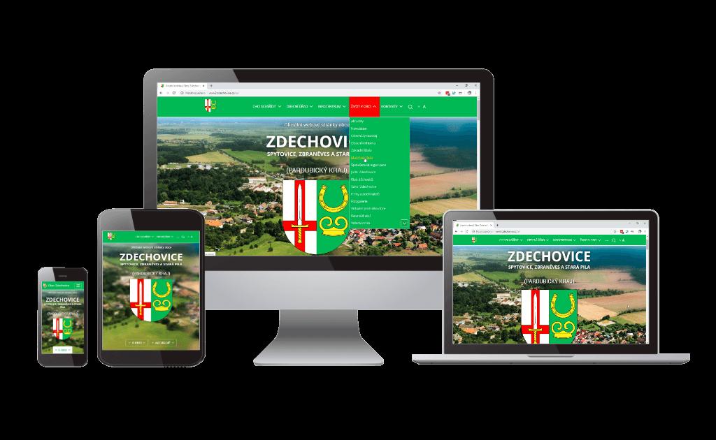 Webové stránky obce Zdechovice jsou responzivní - přizpůsobí se zařízení, na kterém si je zobrazíte
