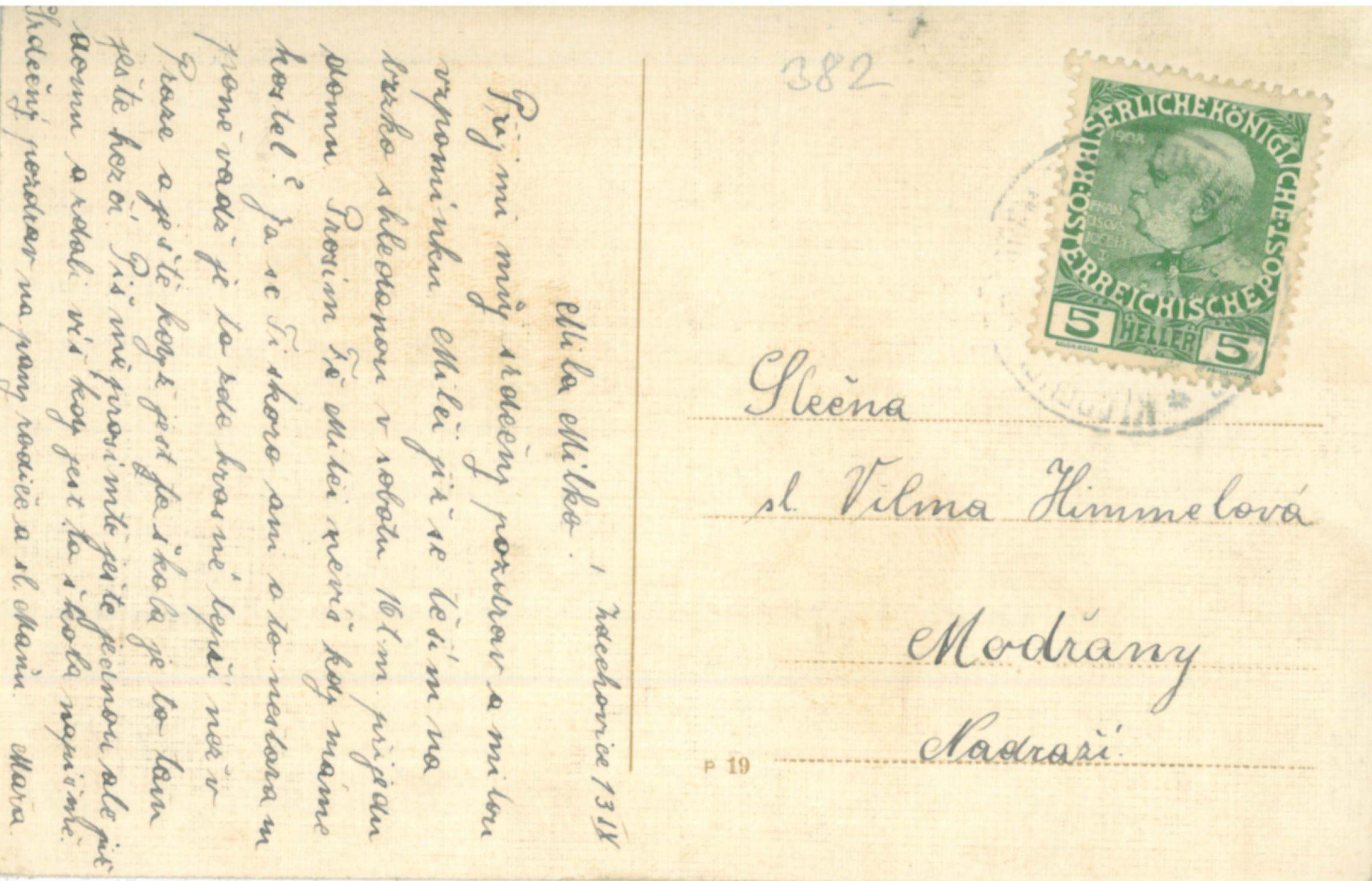 Pohlednice hráz Zdechovického rybníka cca r.1918 rub