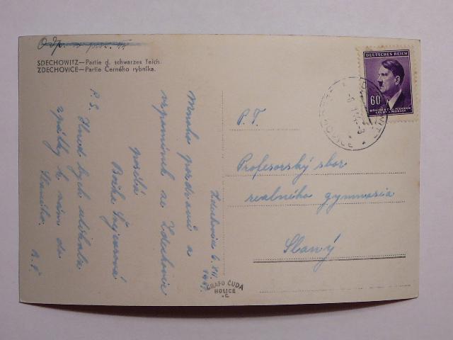 Pohlednice - Černý rybník - rubová strana pohlednice