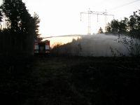 Požár pod linkou 06-hašení za svítání