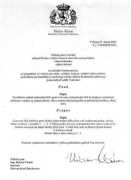 Písemné rozhodnutí o udělení znaku a praporu od p. Václava Klause